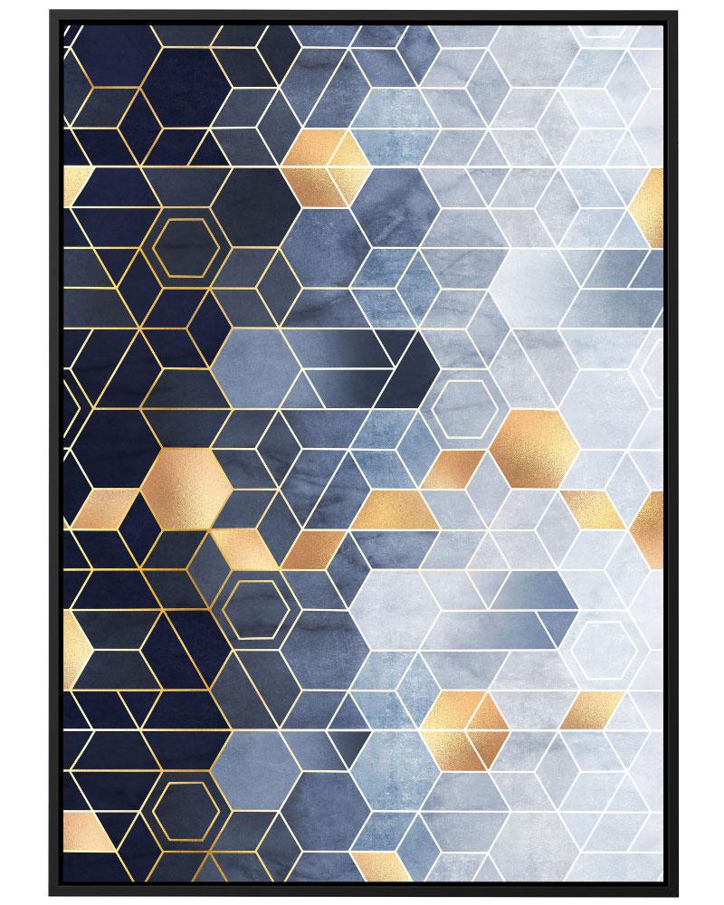 Quadro Conexões Geométricas Azul