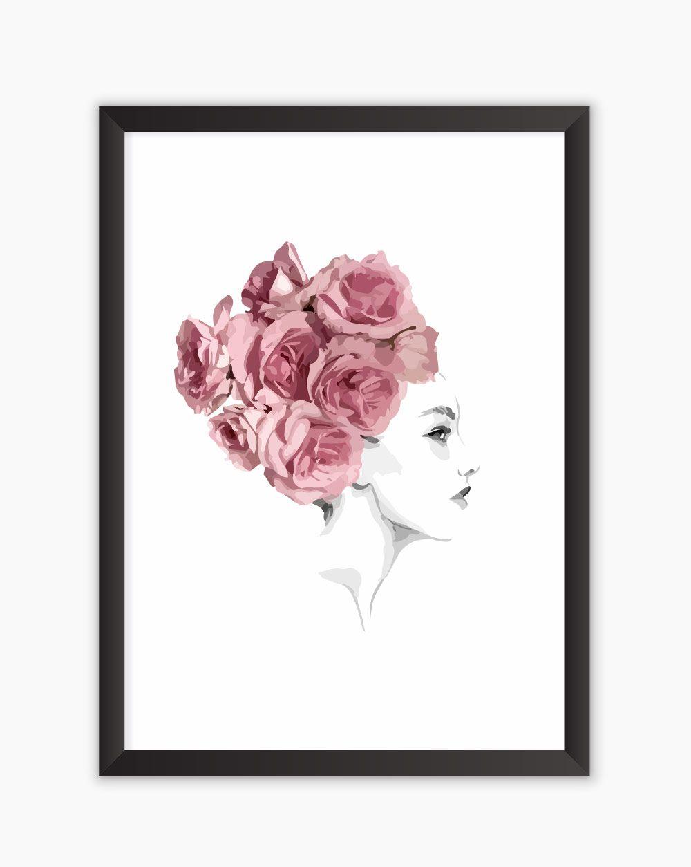 Quadro Floral Hair Watercolor