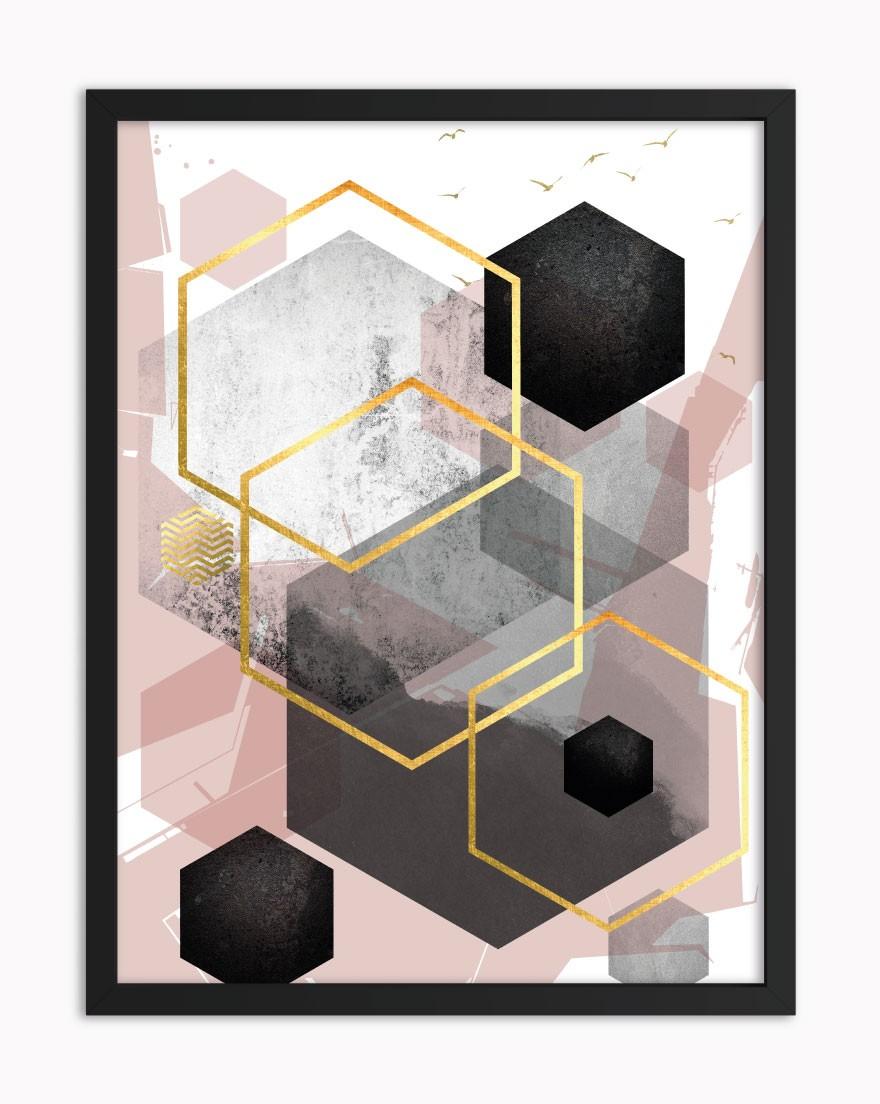 Quadro Geometric Black Blush I