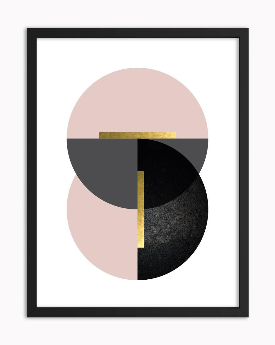Quadro Geometric Black Blush II