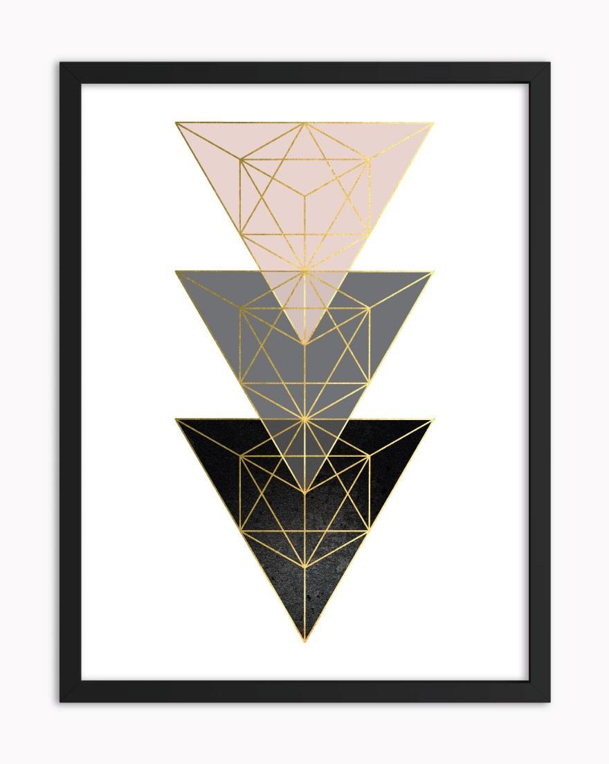 Quadro Geometric Black Blush III
