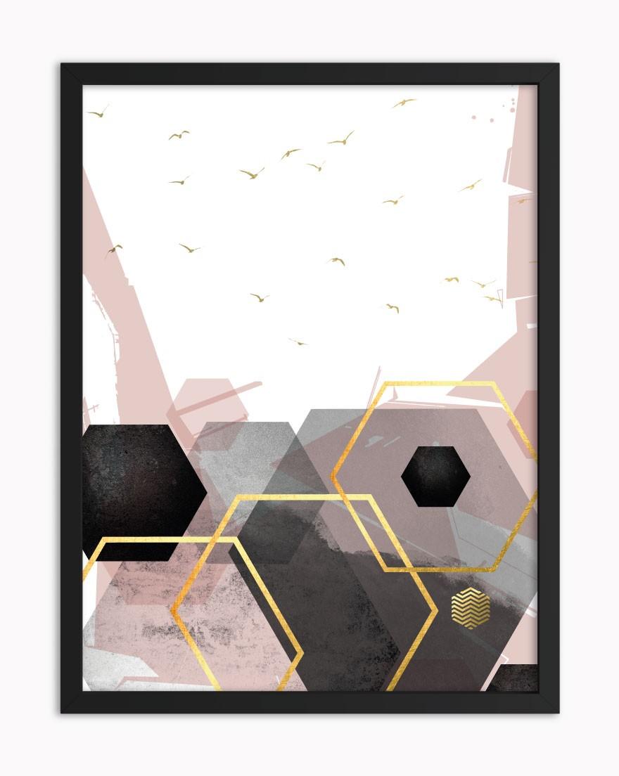 Quadro Geometric Black Blush IV