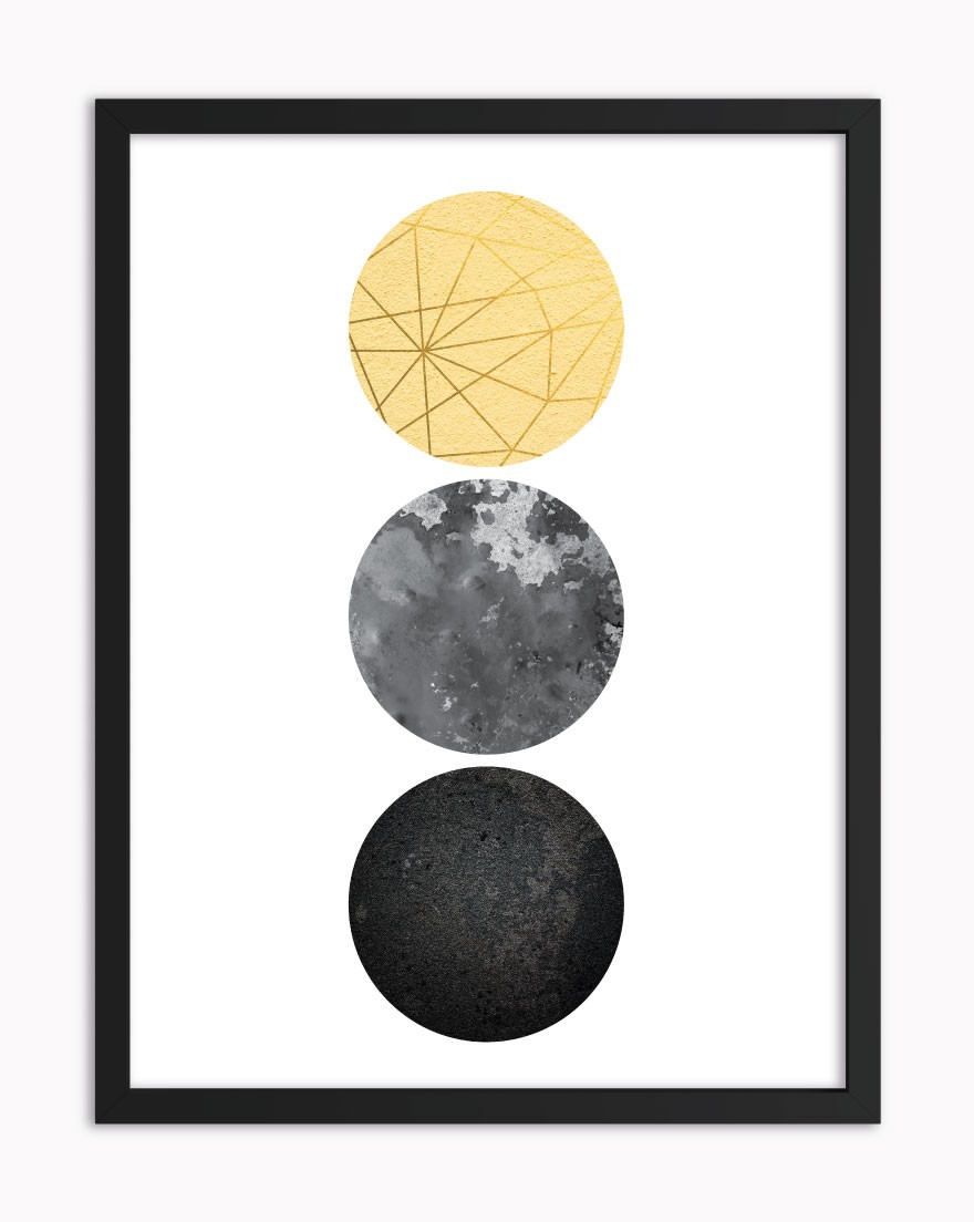 Quadro Geometric Black Yellow II