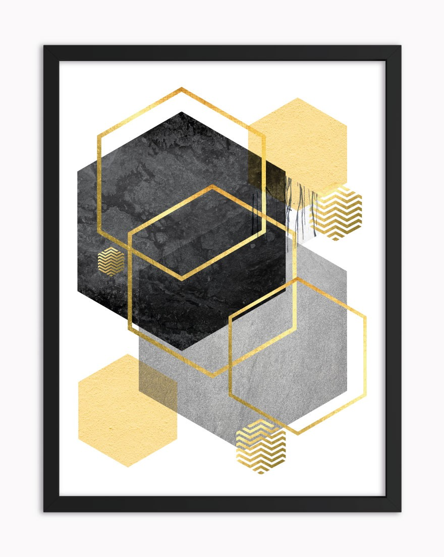 Quadro Geometric Black Yellow I