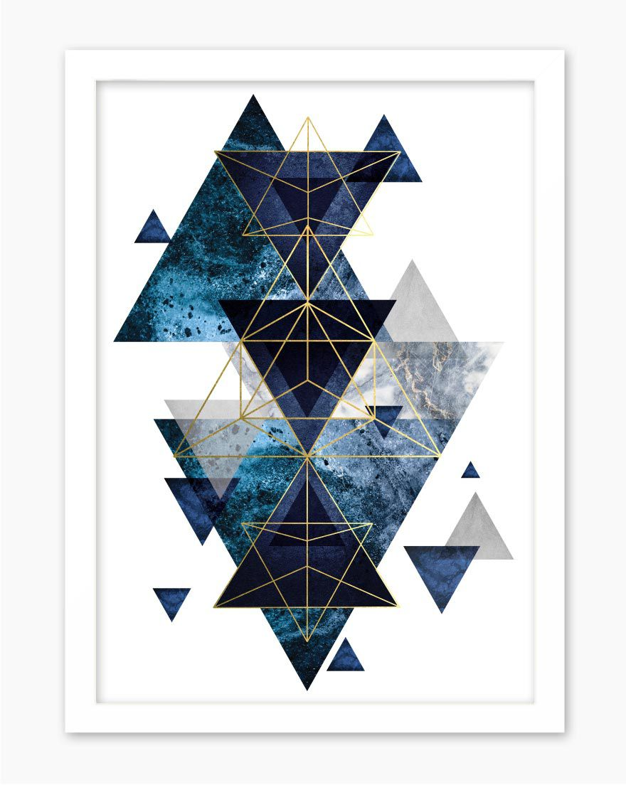 Quadro Geometric Blue Gold I