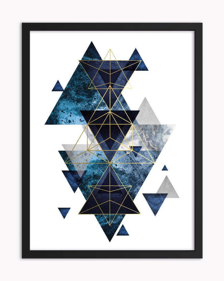 Quadro Geometric Blue Gold I