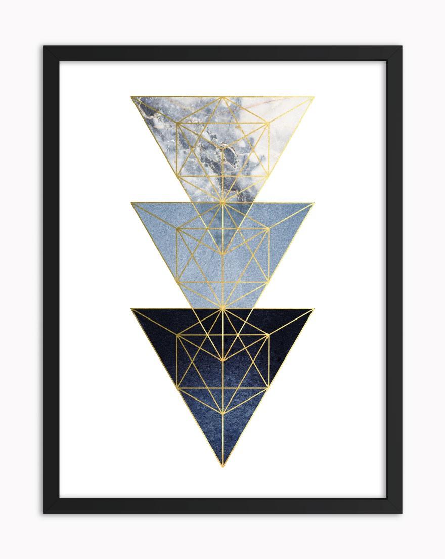 Quadro Geometric Blue Gold II