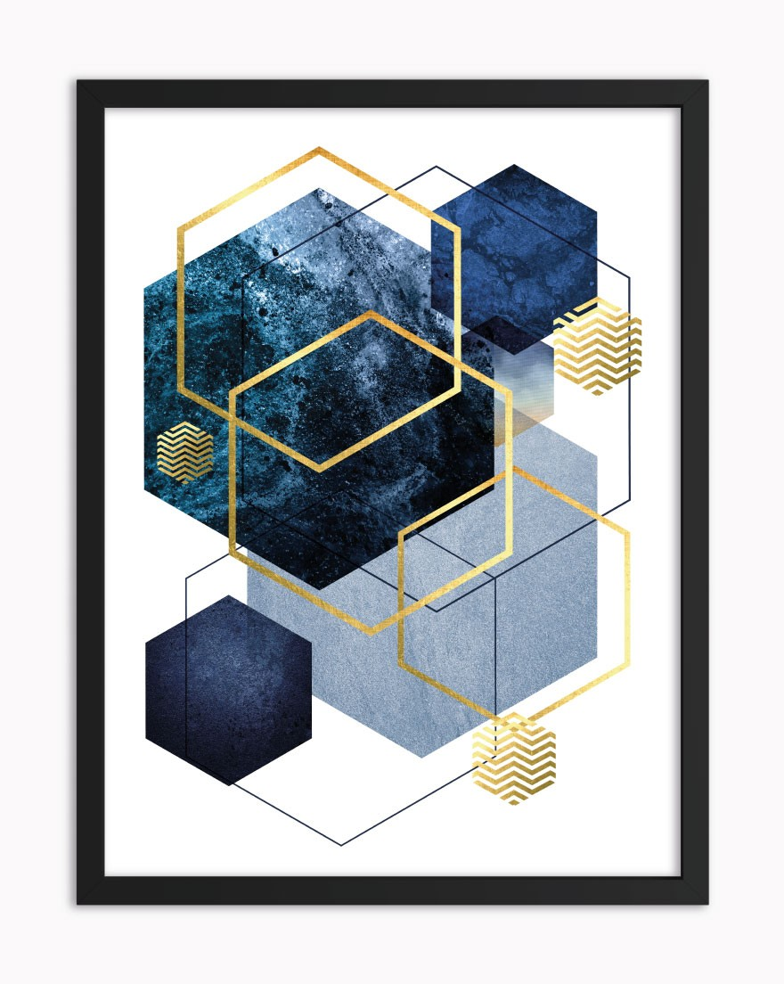 Quadro Geometric Blue Gold III