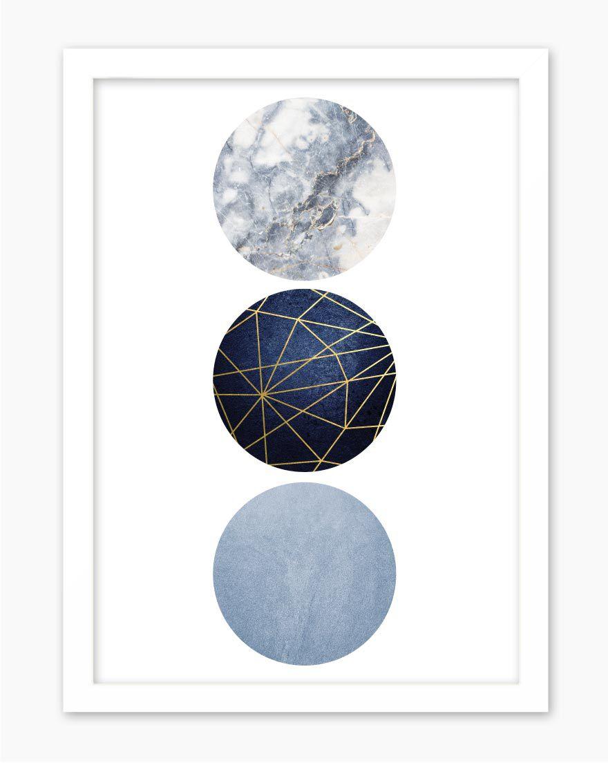 Quadro Geometric Blue Gold IV