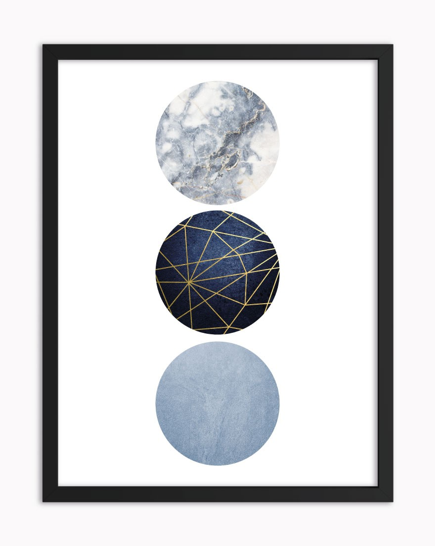 Quadro Geometric Blue Gold IV