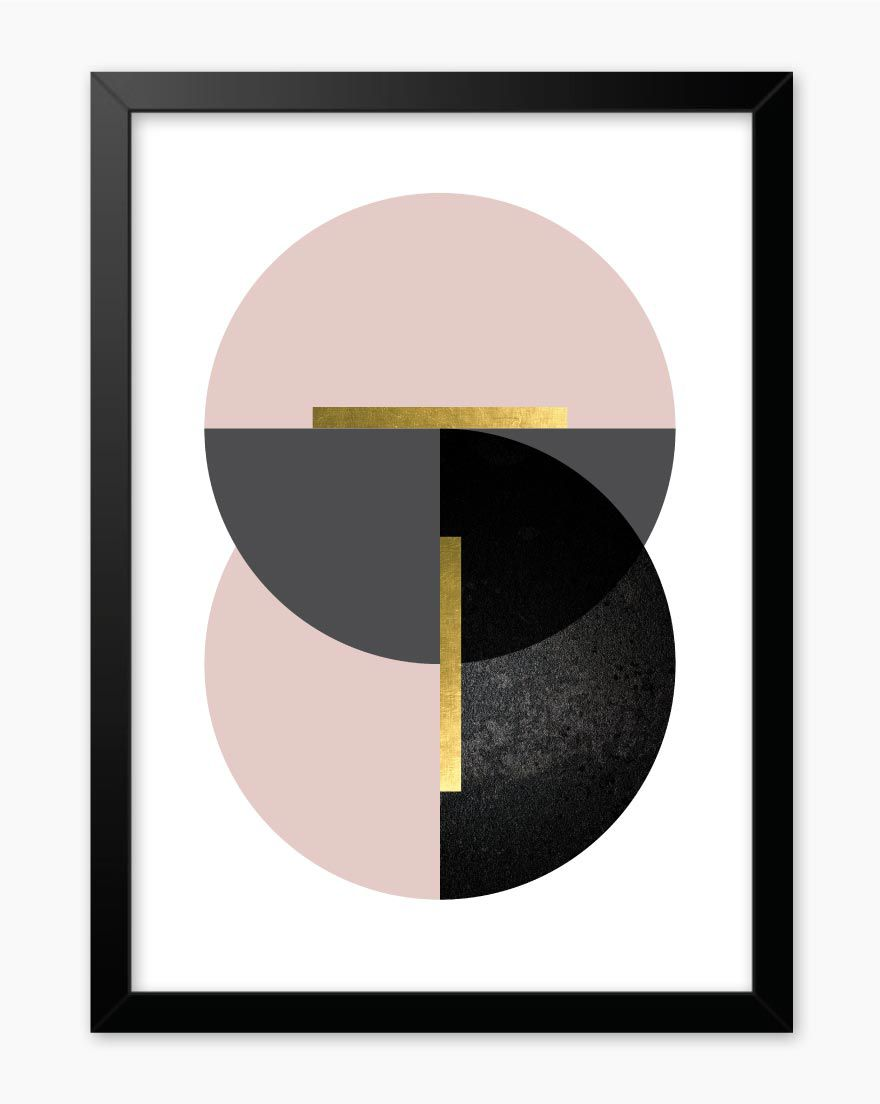 Quadro Geometric Blush Black I