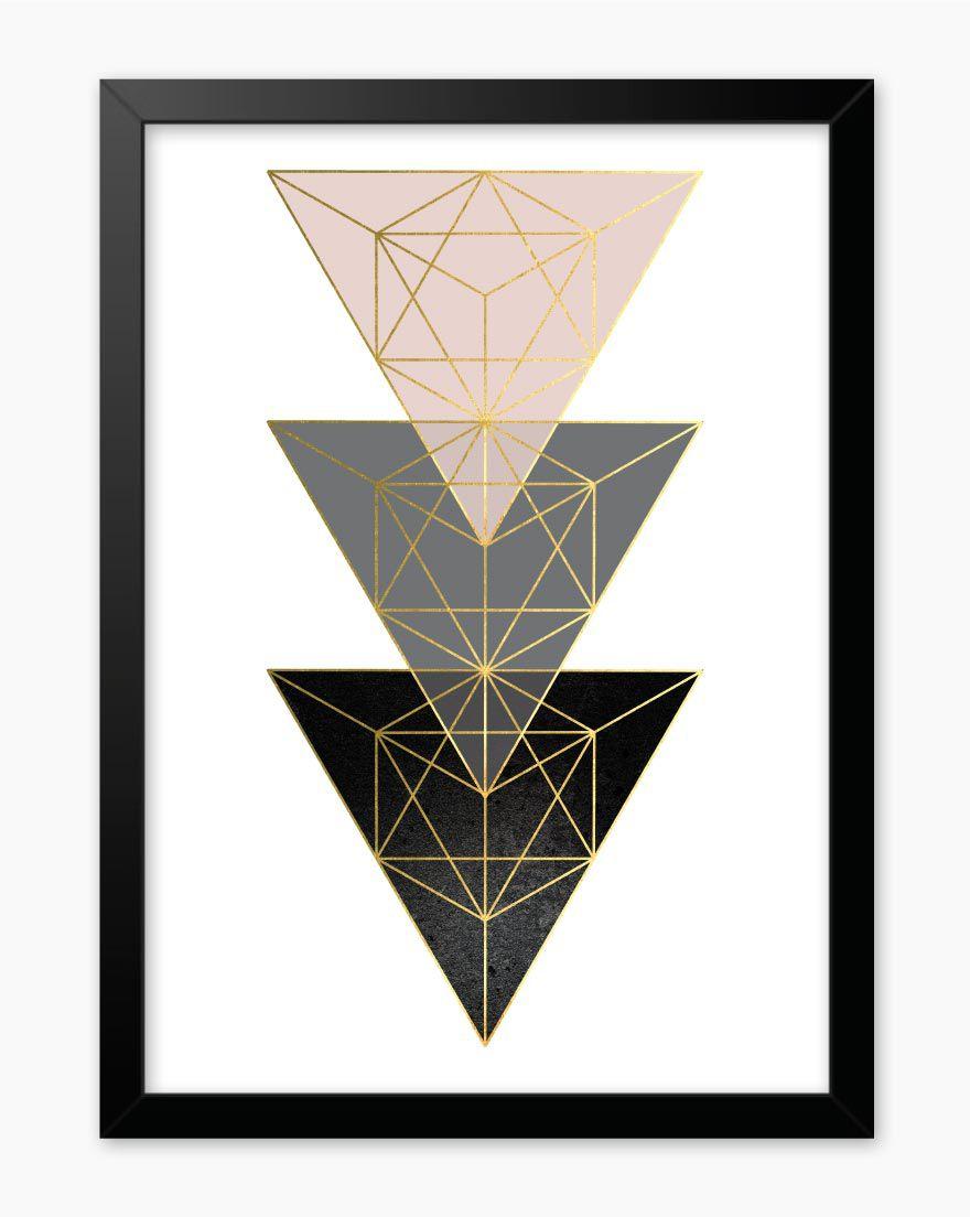 Quadro Geometric Blush Black III