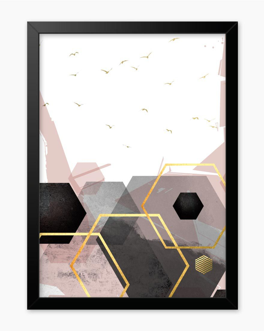 Quadro Geometric Blush Black IV