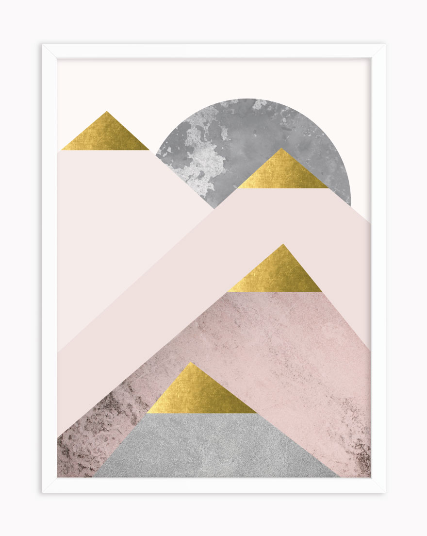 Quadro Geometric Blush Gold II
