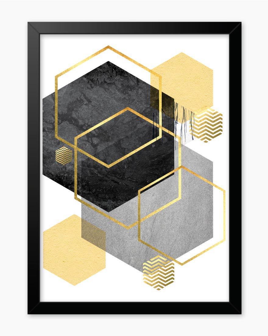 Quadro Geometric Cinza Amarelo I