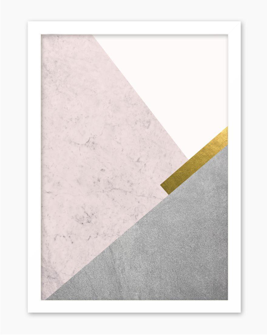 Quadro Geometric Cinza Rosé I