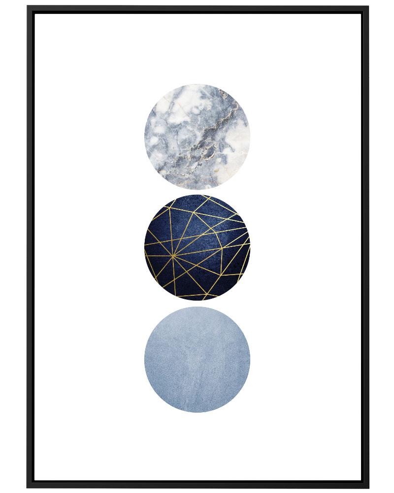Quadro Geométrico Azul Círculos