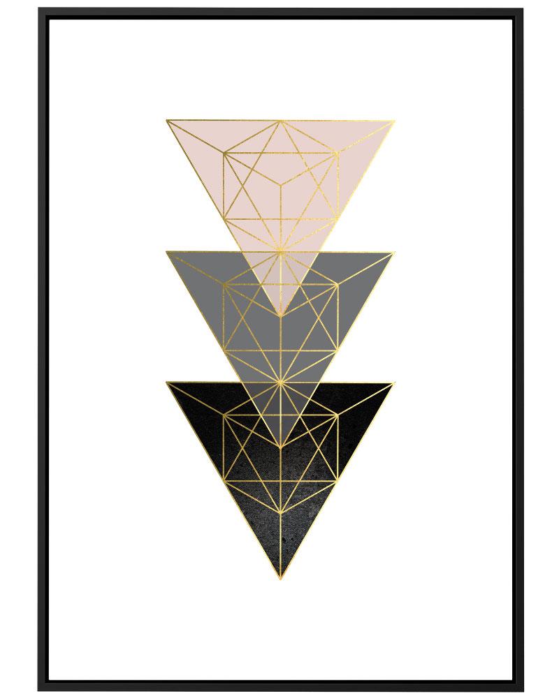 Quadro Geométrico Rose Cinza I