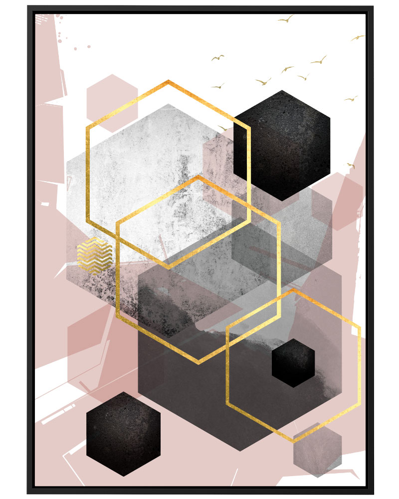 Quadro Geométrico Rose Cinza II