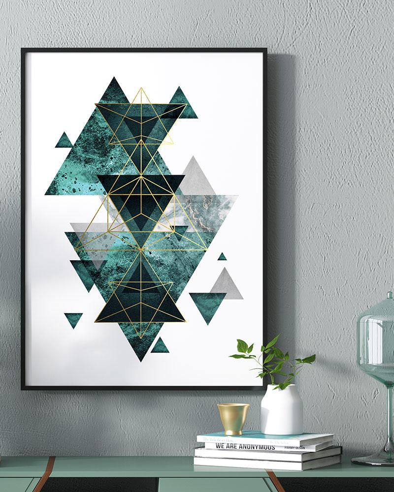 Quadro Geométrico Verde Esmeralda