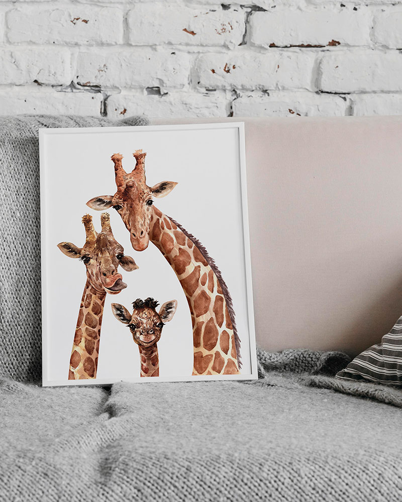 Quadro Girafa Família