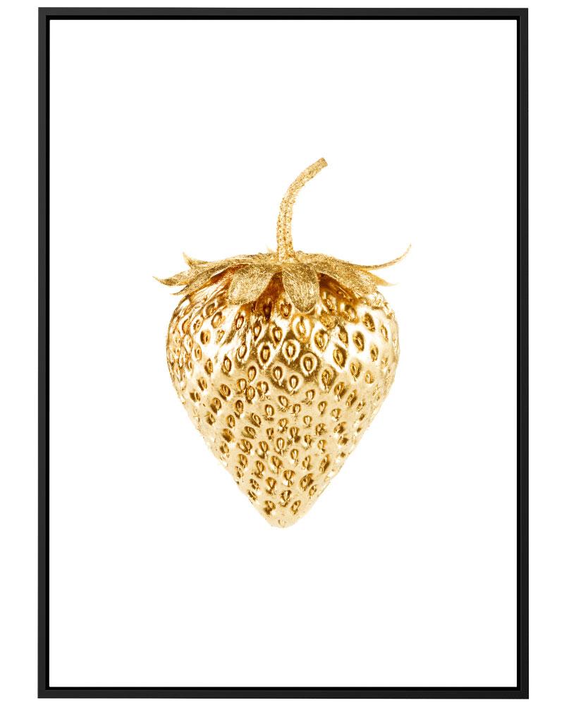Quadro Morango Dourado
