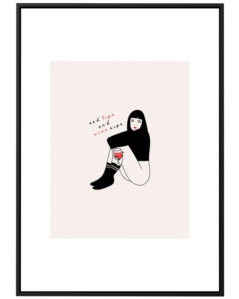 Quadro Red Lips Wine Sips