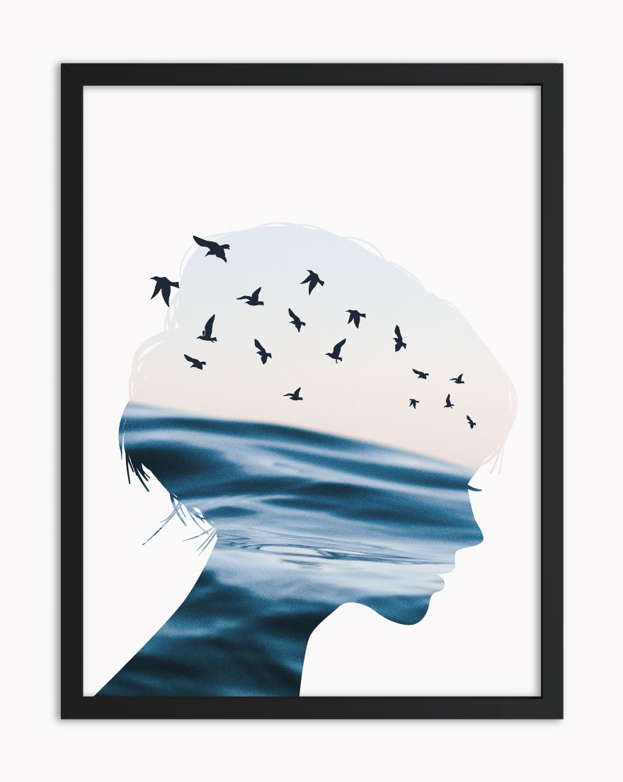 Quadro Woman Birds Blue