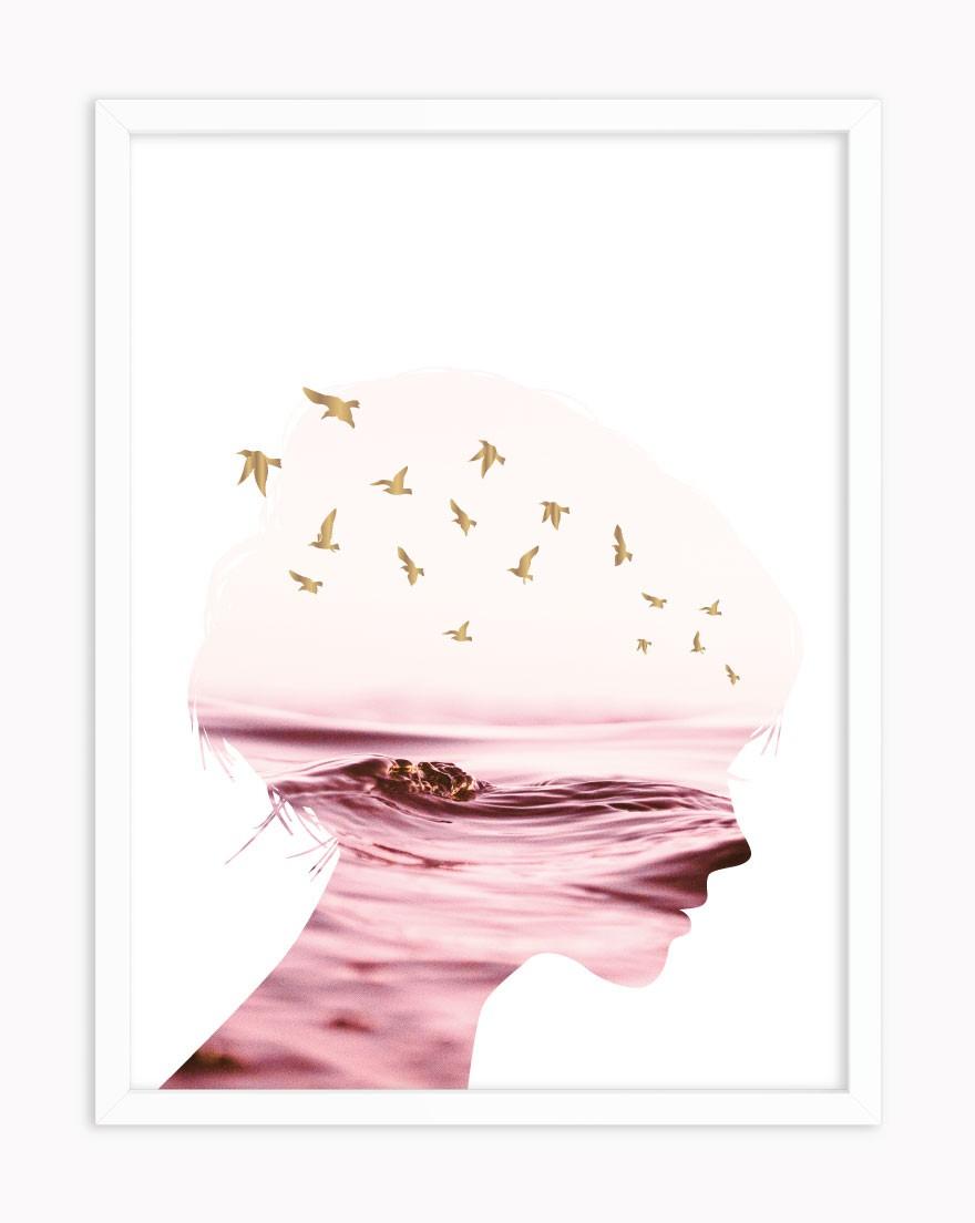 Quadro Woman Birds Pink