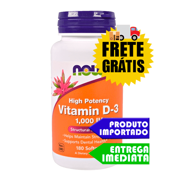Vitamina D-3 - Now Foods (1000IU - 180 cápsulas)