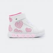 Tênis Pampili Infantil com LED Sneaker Corações Branco/Pink - 165.161