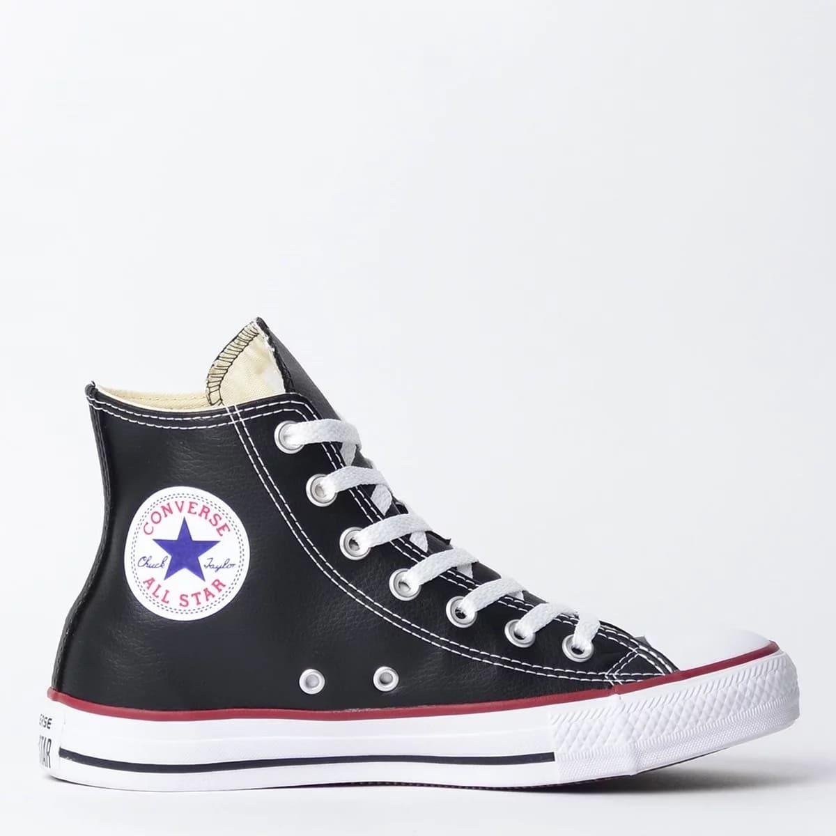Tênis Converse Chuck Taylor All Star New Malden Hi Preto Vermelho Em Couro Ct04510003