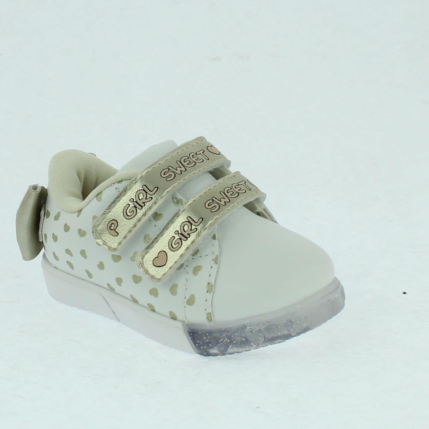 Tênis Pampili Infantil Baby Fun com LED Branco e Dourado - 471.017