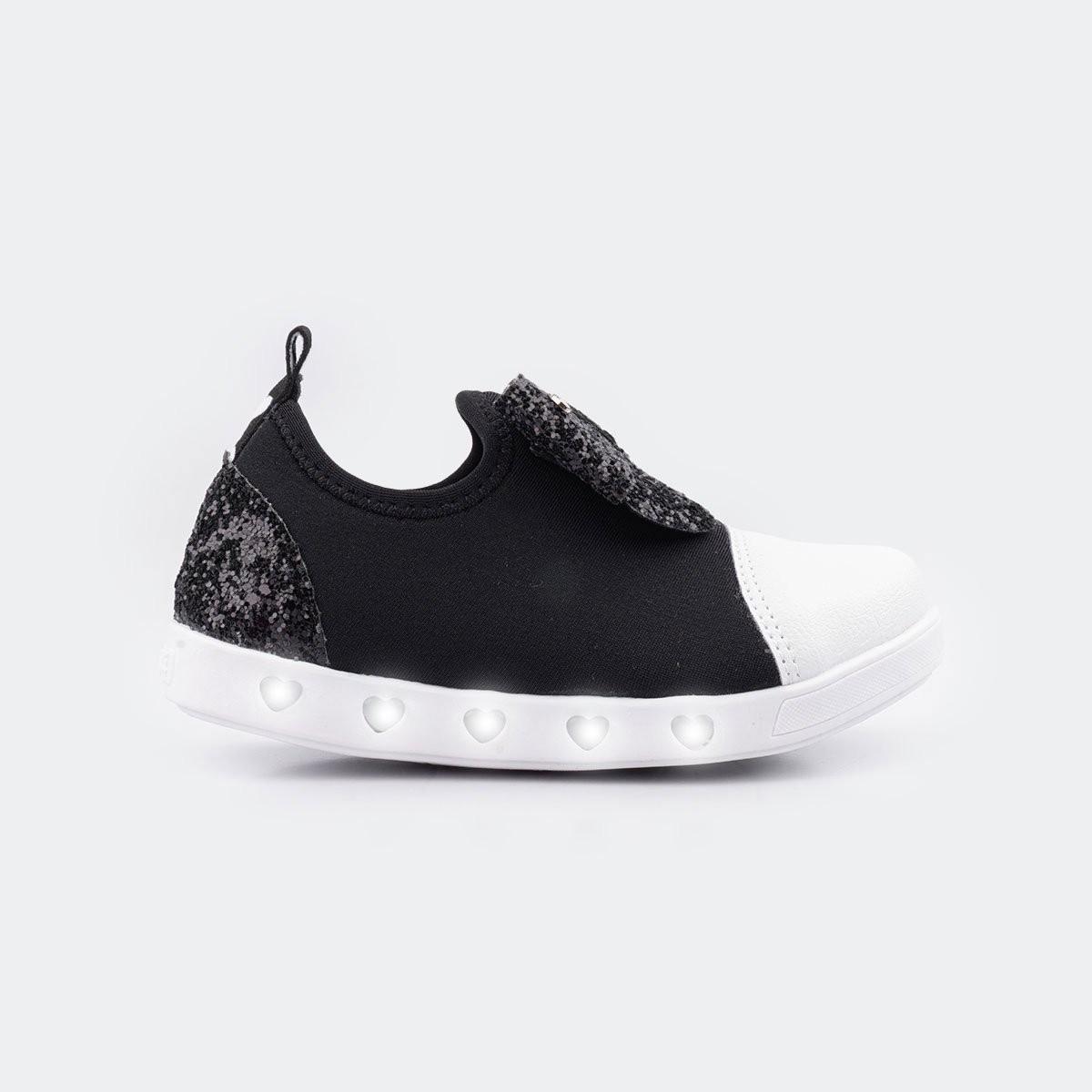 Tênis Pampili Infantil Sneaker Led com Elástico Glitter Preto - 165.151