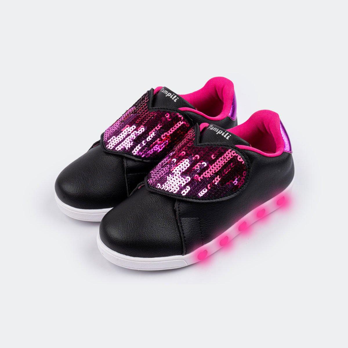 Tênis Pampili Infantil Sneaker Led Paetê - 165.147