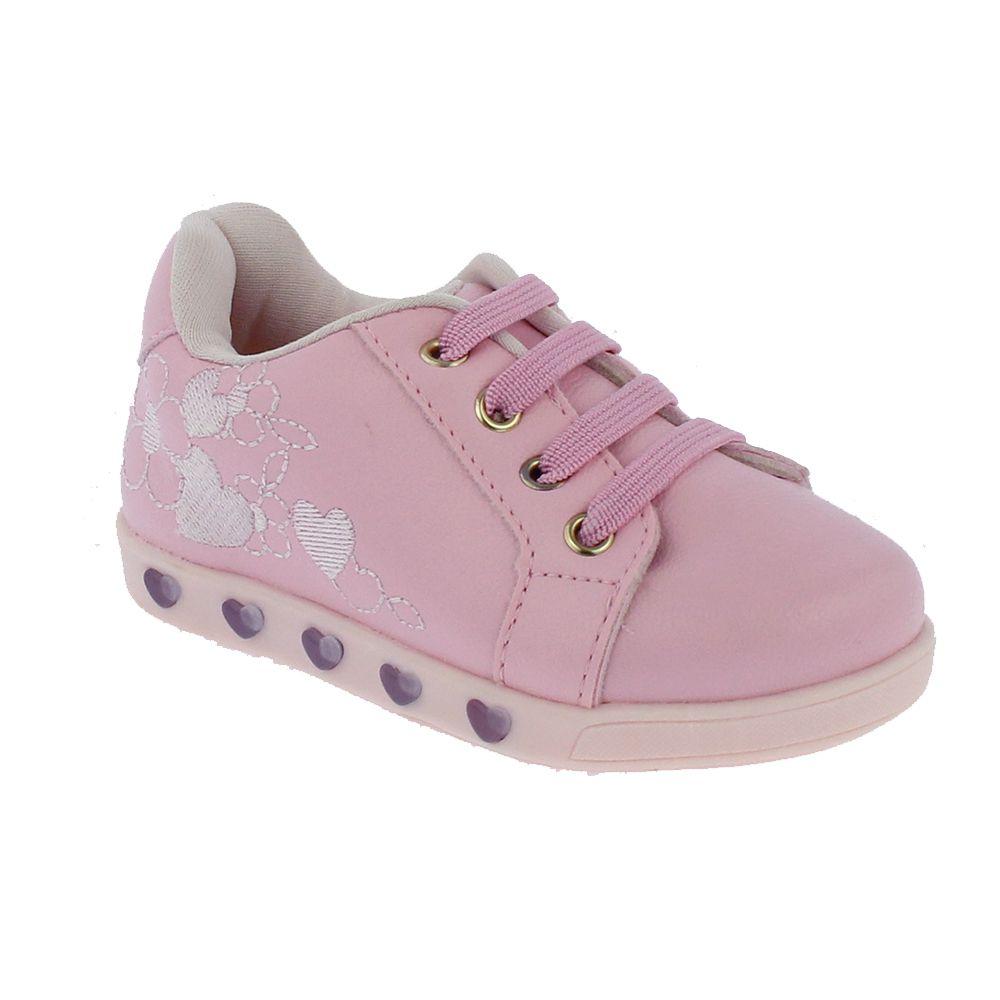 Tênis Pampili infantil Sneaker Rosa com LED - 165.110