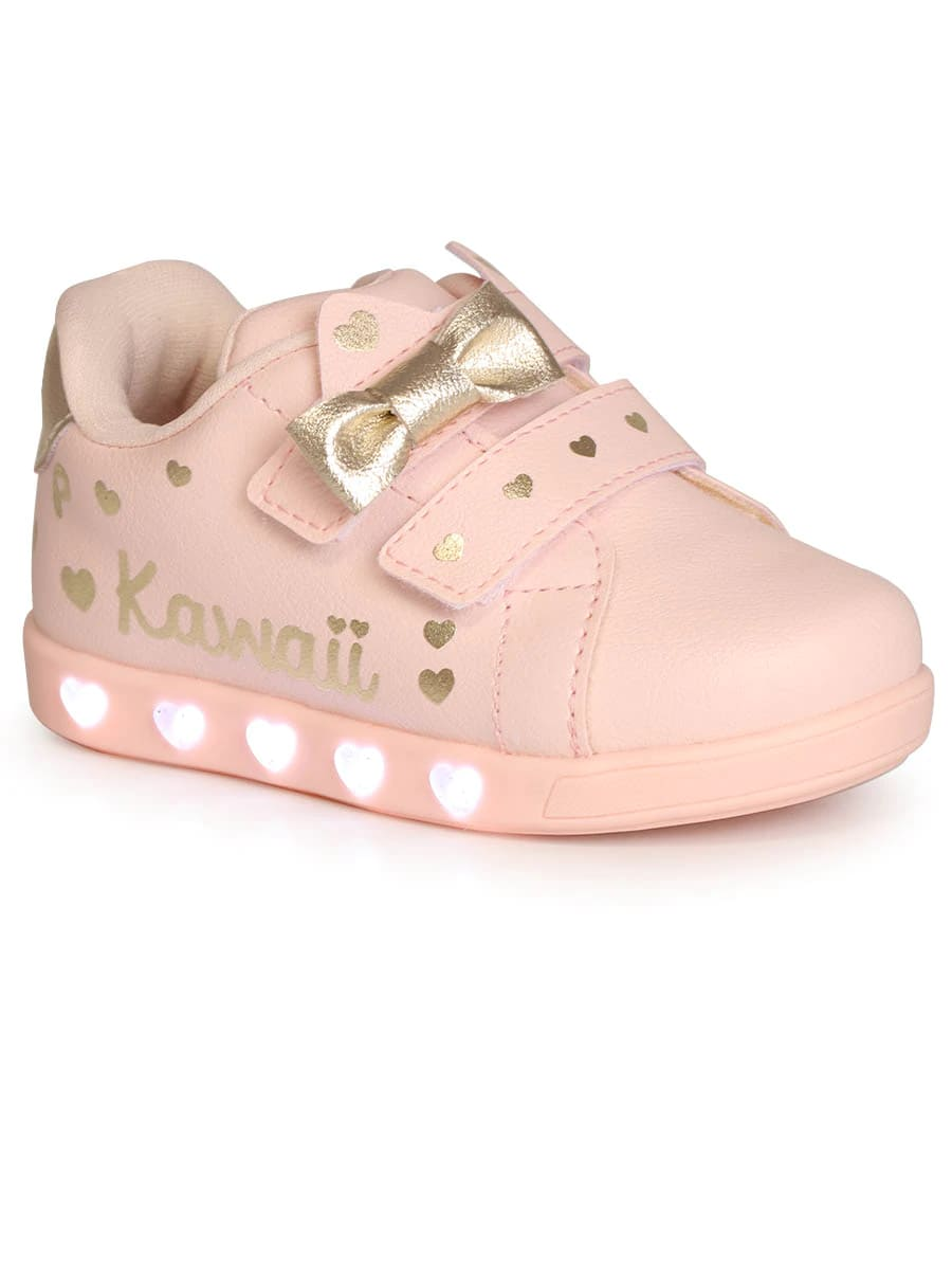 Tênis Pampili Infantil Sneaker Rosa Kawaii com LED - 165.121