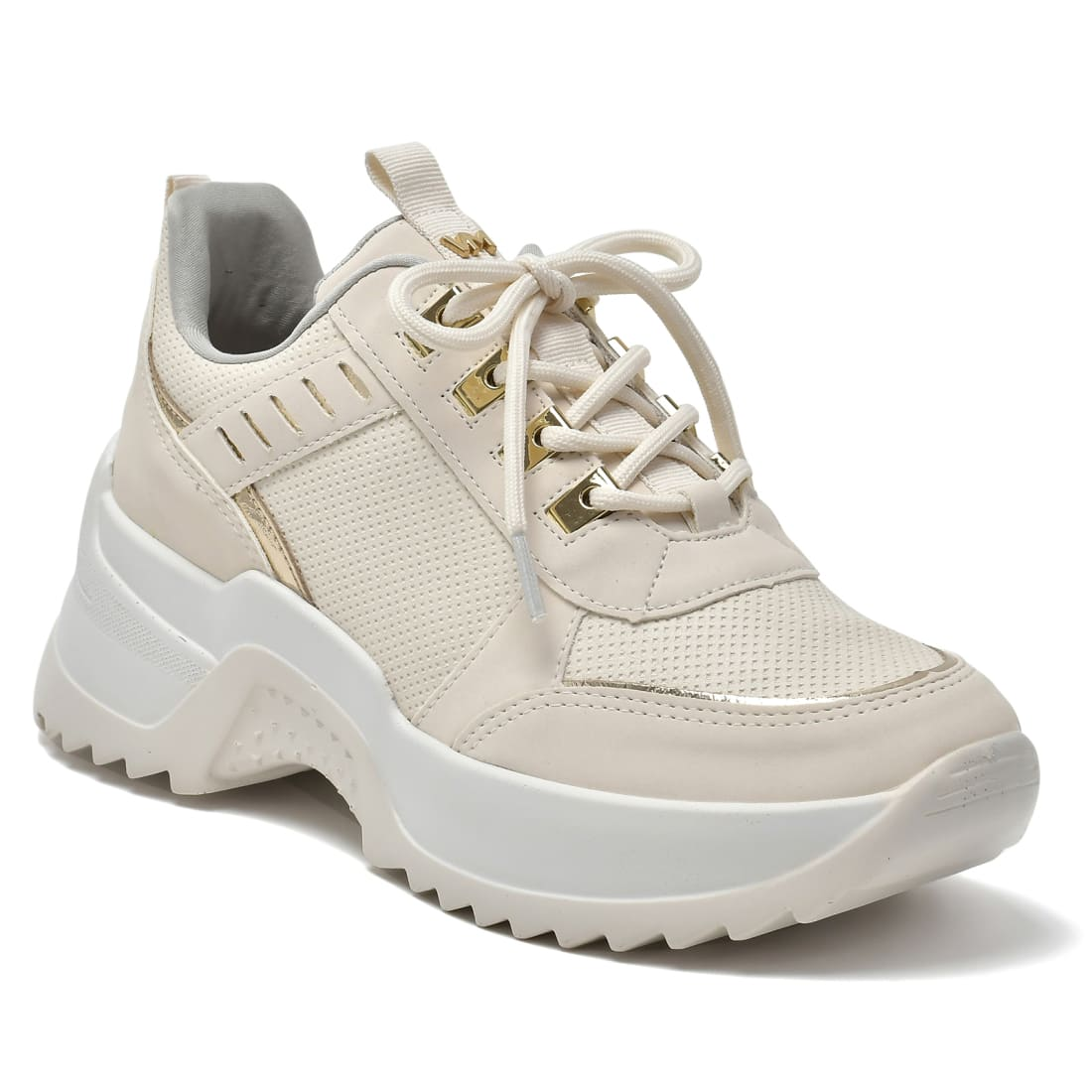 Tênis Via Marte Sneaker Plataforma Feminino Off White / Dourado - 21-11603-07