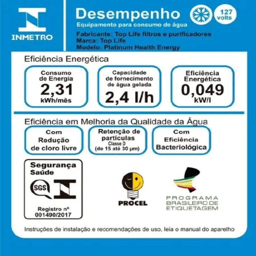 FILTRO PURIFICADOR AGUA ALCALINA COM OZONIO TOP LIFE - PRETO - 110V/220V