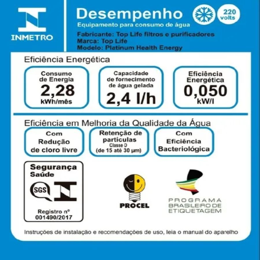 Filtro Top Life Agua Alcalina Ozonizada 127/220v Prata