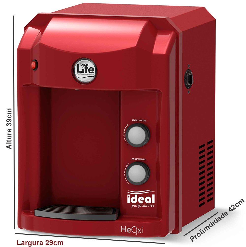 Purificador Água Top Life Heath Energy Oxi Super Alcalina Ionizada c/ Ozônio Vermelho