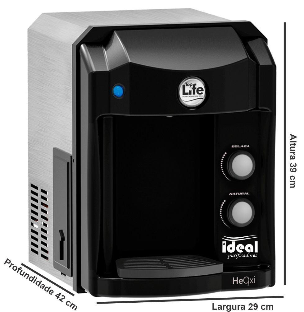 Purificador de água super alcalina ionizada com ozônio top life new heoxi refrigerado 110v/220v Preto