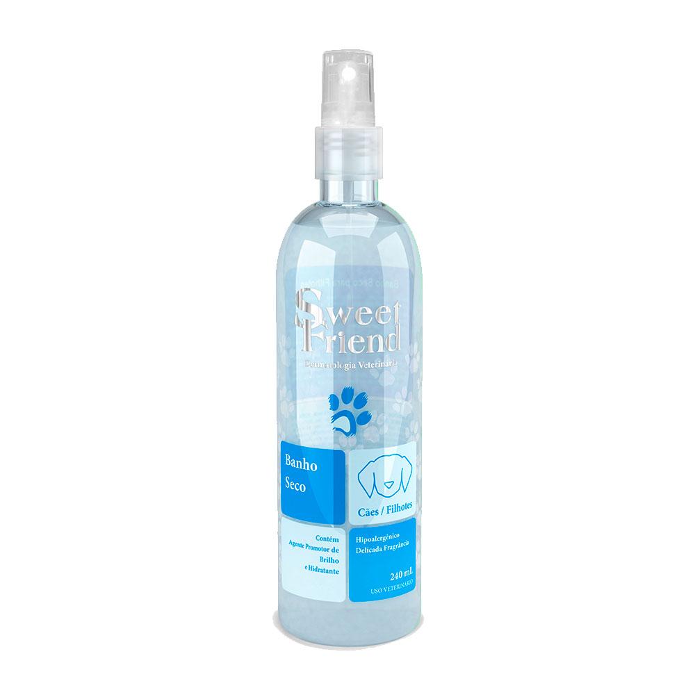 Banho a Seco Sweet Friend Limpeza e Hidratação Cachorro Filhotes e adultos - Azul unissex- 240ml