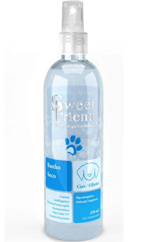 Banho a Seco Sweet Friend Limpeza e Hidratação Cachorro Filhotes e adultos - Azul unissex- 250 ml