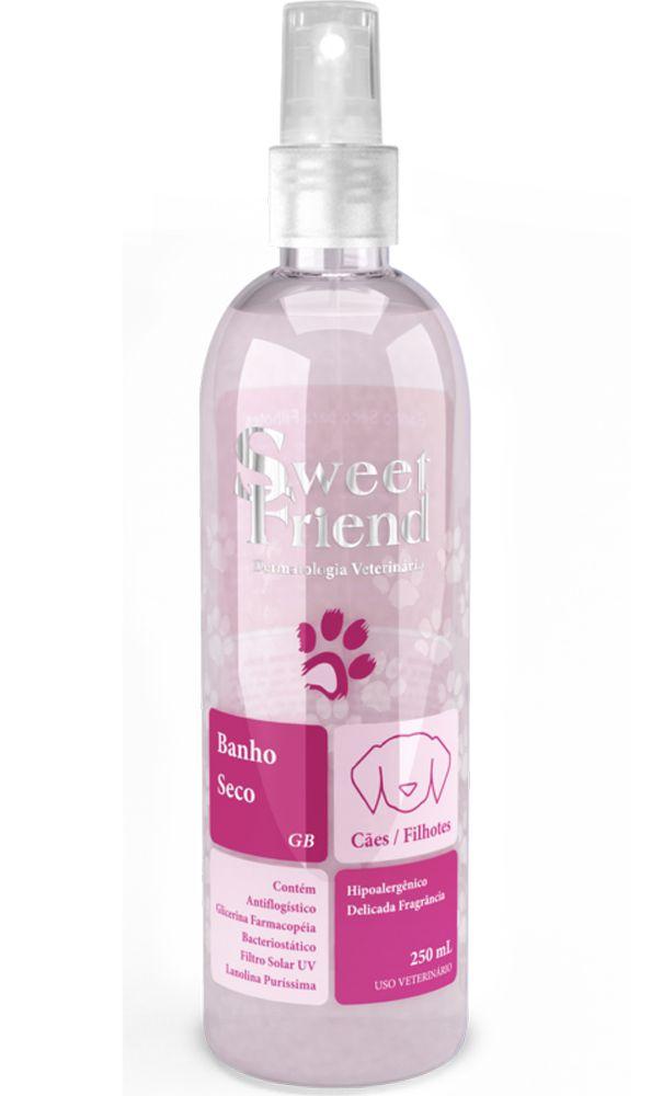 Banho a Seco Sweet Friend Limpeza e Hidratação Cachorro Filhote e Adulto - Rosa unissex- 250 ml