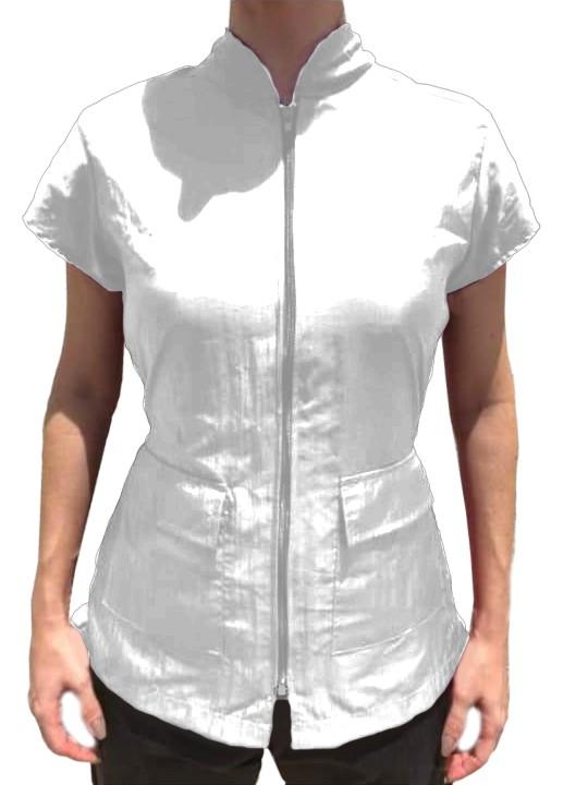 Jaleco Groomer Feminino Branco - Anti pelos (P/M/G)