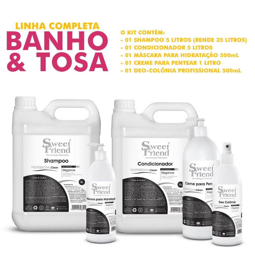 Kit de Produtos Sweet Friend para Banho e Tosa - Professional Clean Elegance