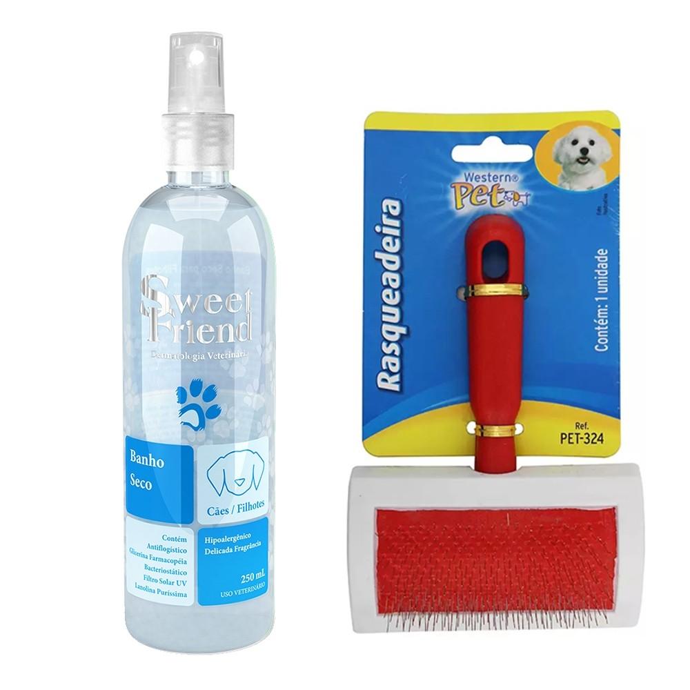 Kit para Cachorro - Banho Seco Azul Sweet Friend + Rasqueadeira