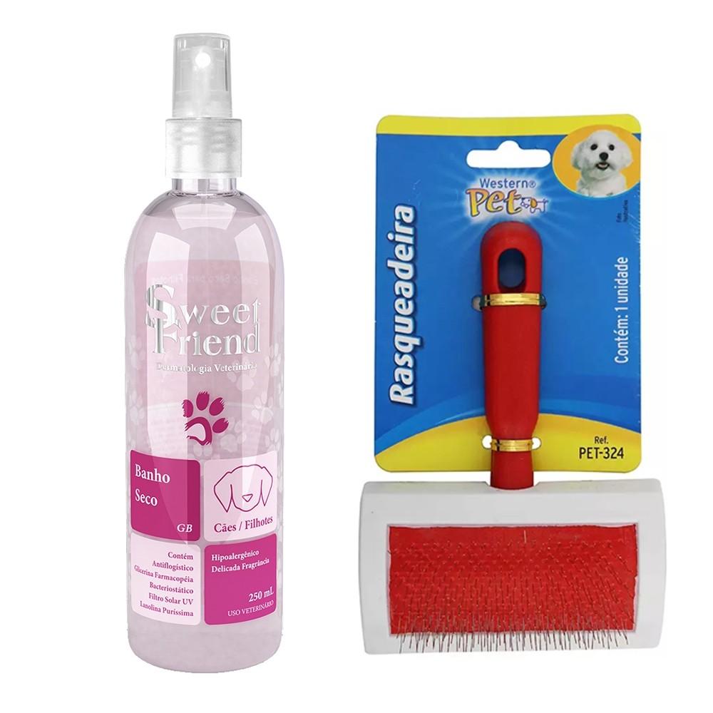 Kit para Cachorro - Banho Seco Rosa Sweet Friend + Rasqueadeira