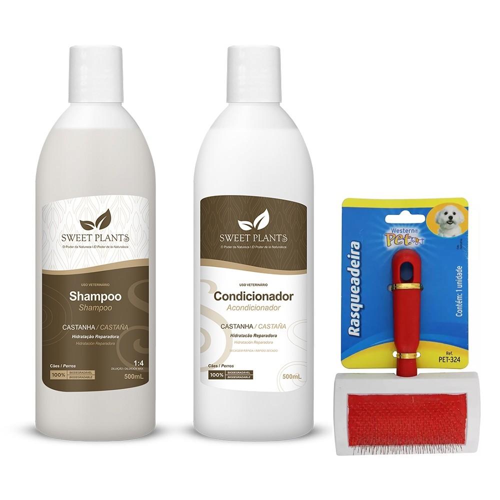 Kit para Cachorro - Shampoo e Condicionador Castanha Sweet Friend + Rasqueadeira